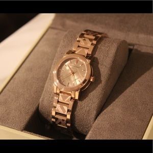 Burberry rose gold checkered watch